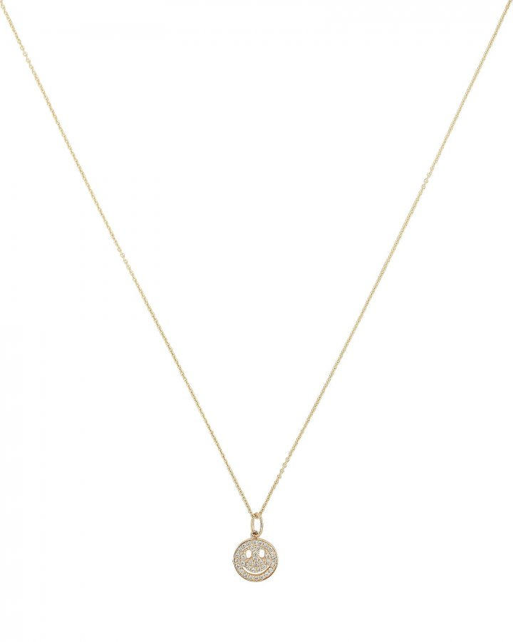 Small Pavé Happy Face Necklace