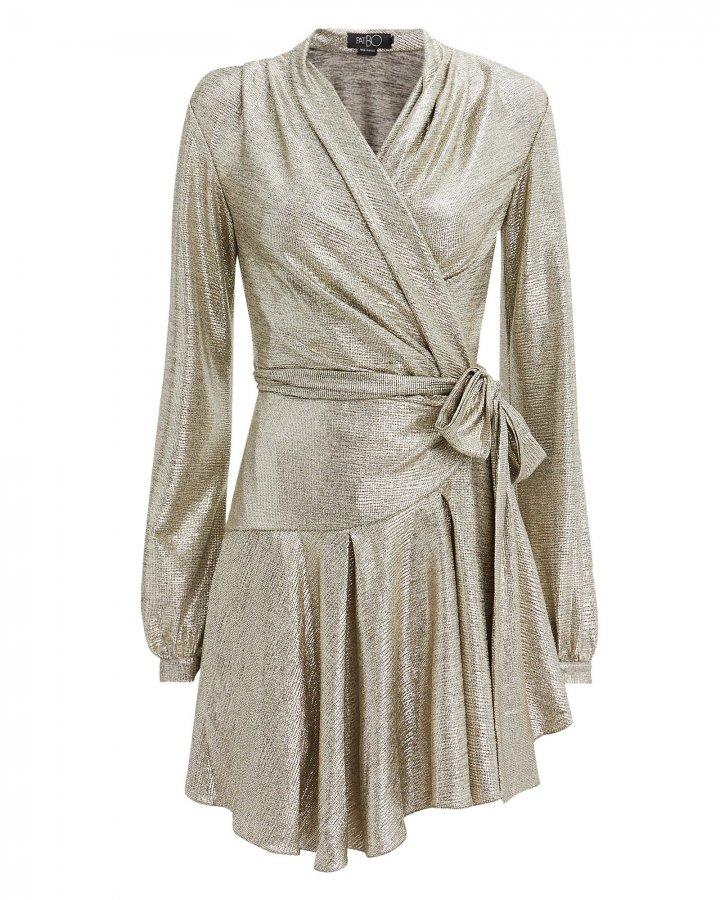 Lamé Wrap Mini Dress