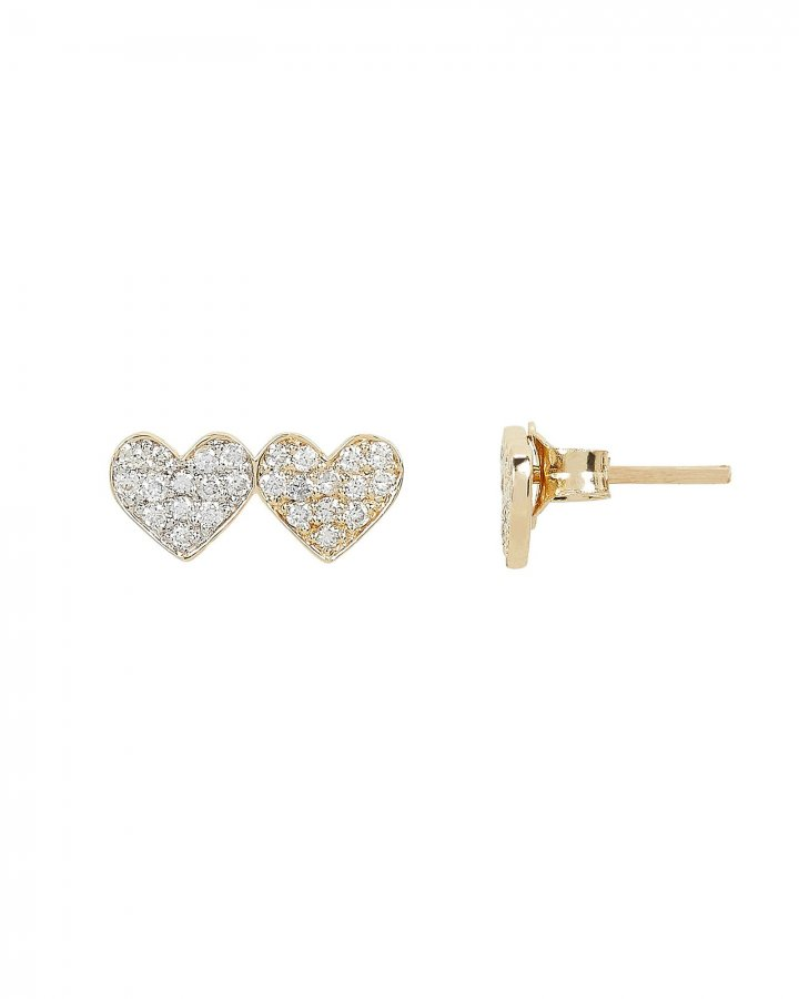 Small Double Heart Stud Earrings