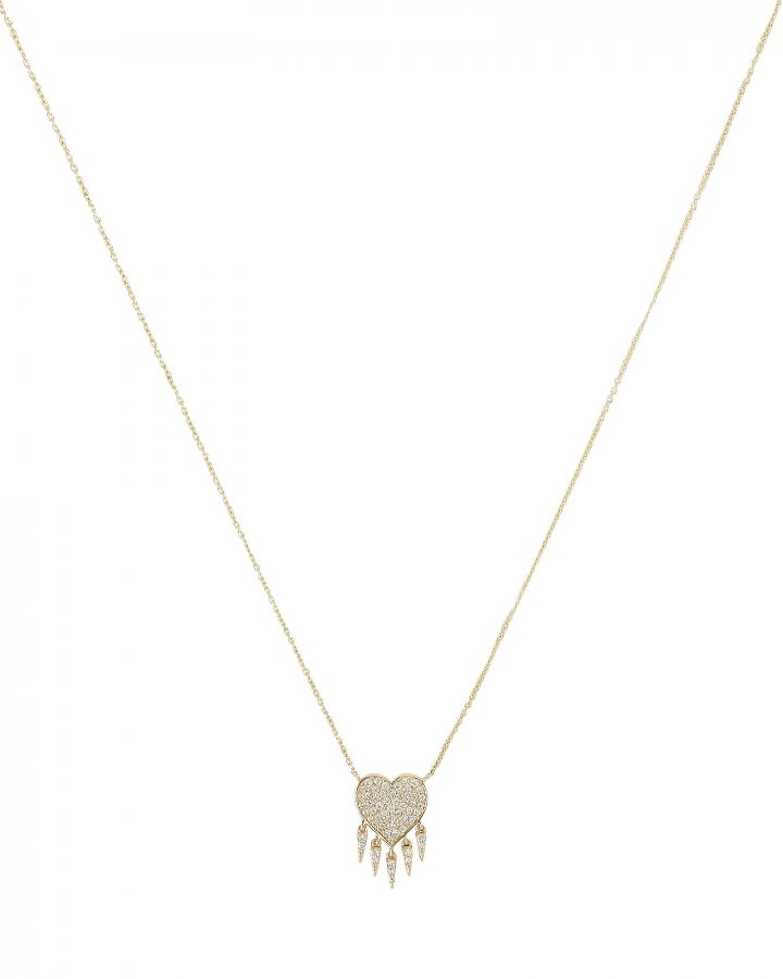 Diamond Heart Fringe Necklace