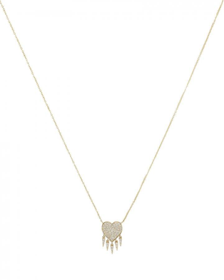 Diamond Heart Fringe Necklace