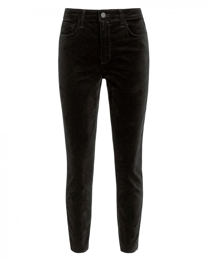 Margot Black High-Rise Ankle Skinny Velvet Pants