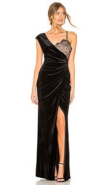 Asymmetric Lace Gown                                             BCBGMAXAZRIA