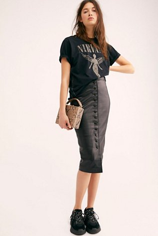 Leather Button Front Skirt
