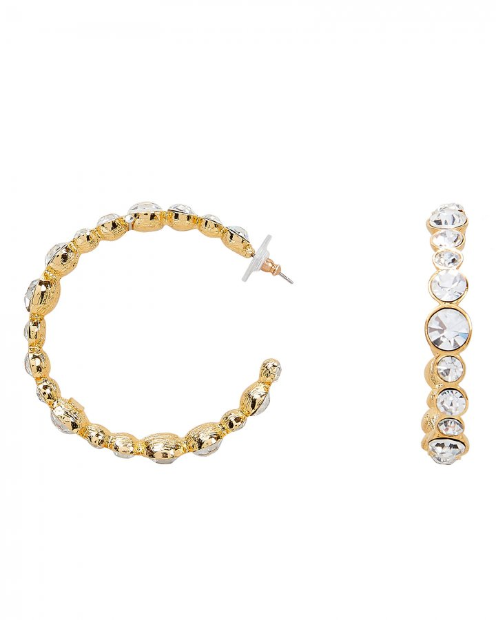 Crystal-Embellished Open Hoops