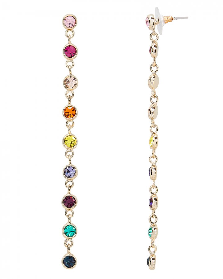 Rainbow Crystal Drop Down Earrings