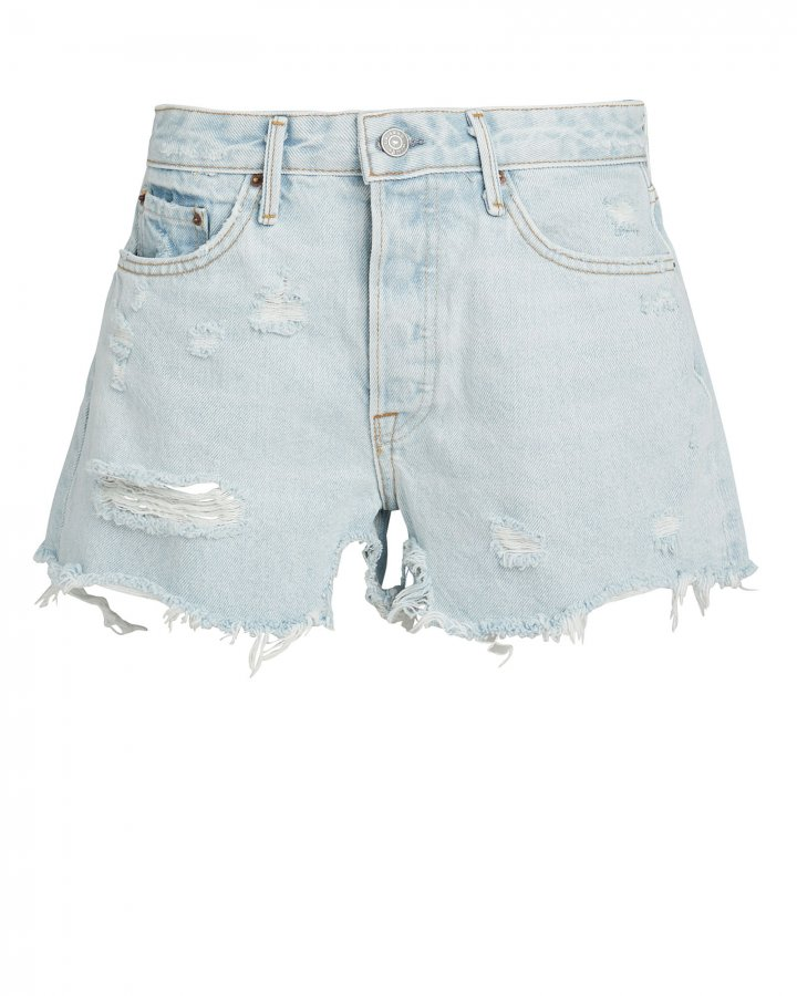 Helena Light Blue Distressed Shorts