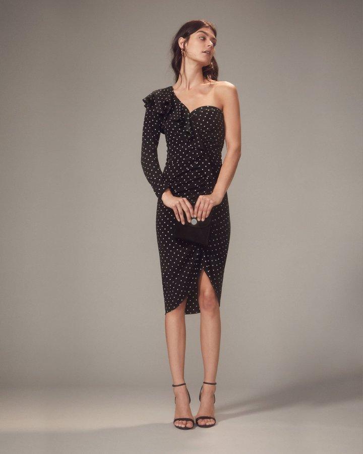 Leona One Shoulder Black Polka Dot Dress