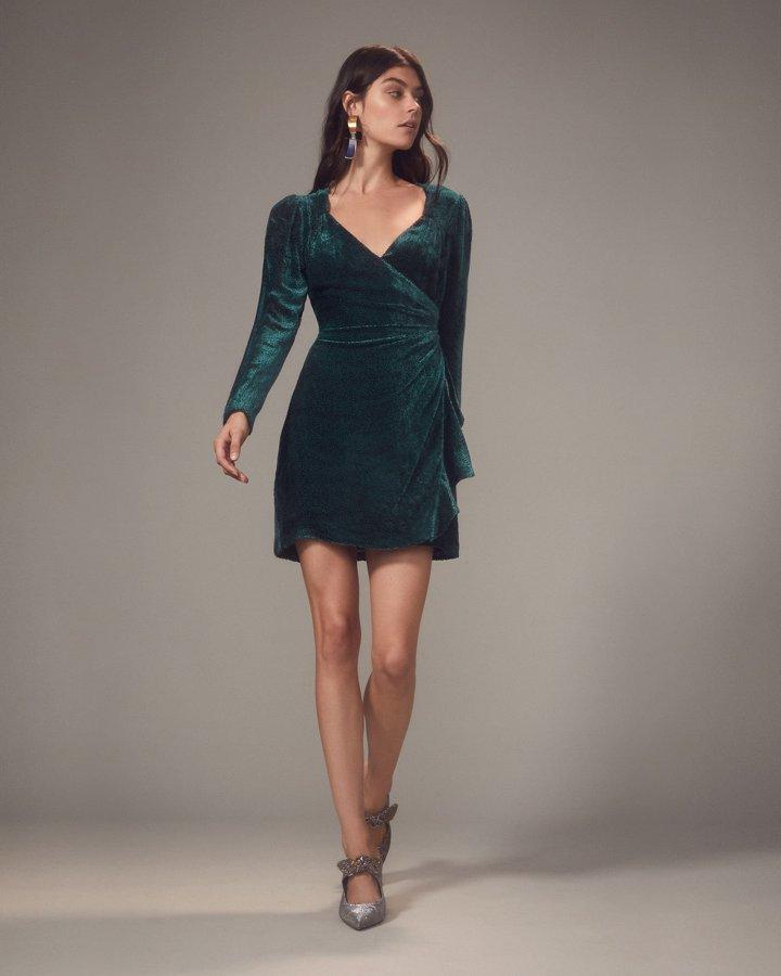 Brooke Velvet Burnout Wrap-Effect Mini Dress