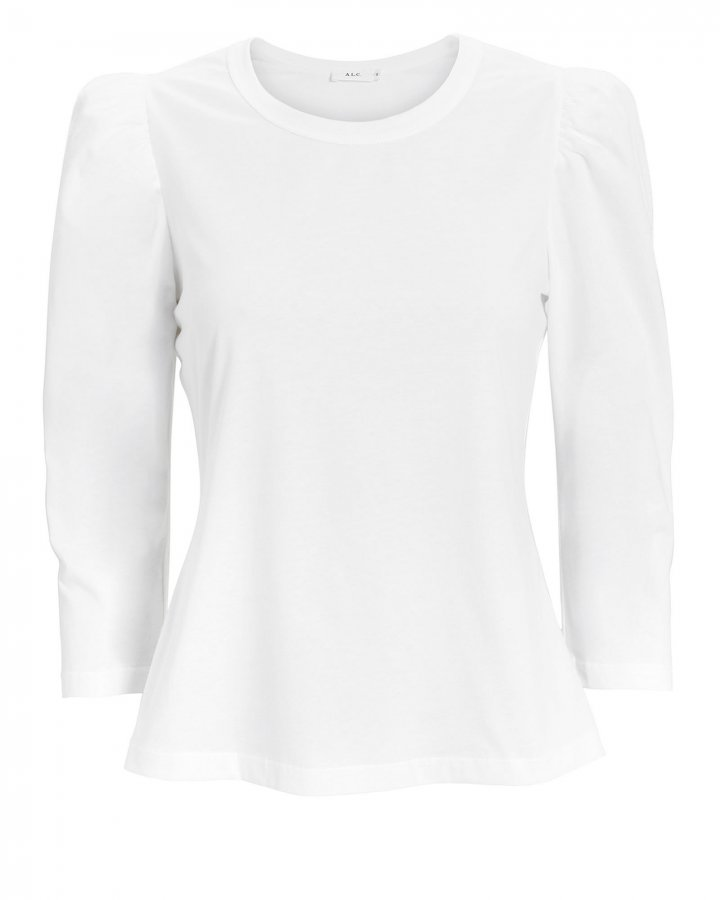 Karlie Puff Shoulder White T-Shirt