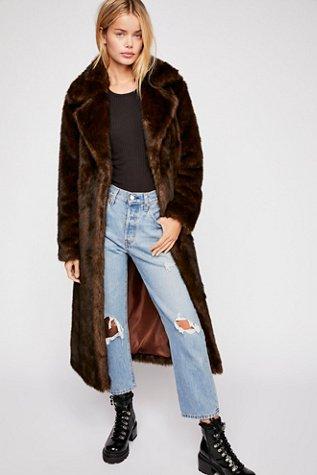 Long Faux Fur Mac Coat