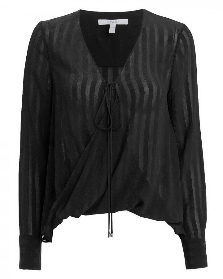 Silk Drape Front Blouse