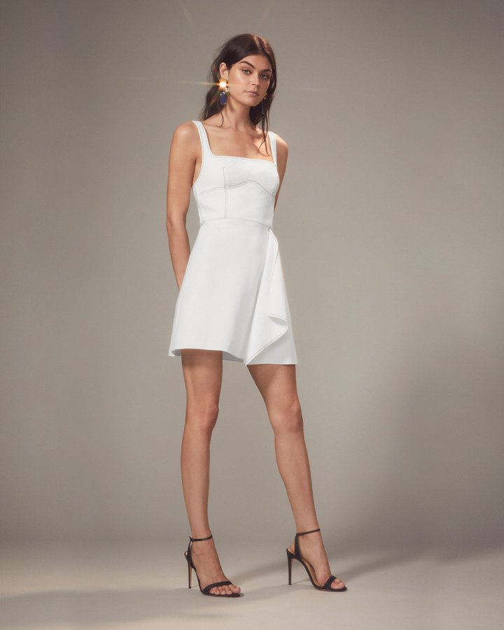 Bustier-Look Ivory Mini Dress
