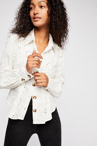 Up In The Clouds Eyelet Buttondown