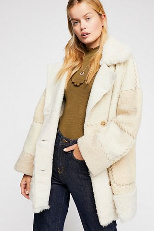 Patchwork Sherpa Coat