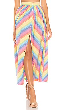 Button Front Skirt                                             MDS Stripes