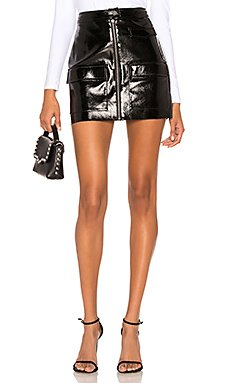 Crackle Patent Leather Skirt                                             1. STATE