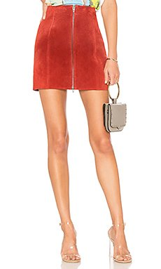 Zipper Suede Mini Skirt                                             BLANKNYC