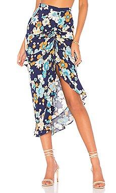 Magnolia Shirred Midi Skirt                                             For Love & Lemons