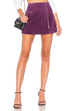 Asymmetrical Zip Suede Skirt                                             BLANKNYC