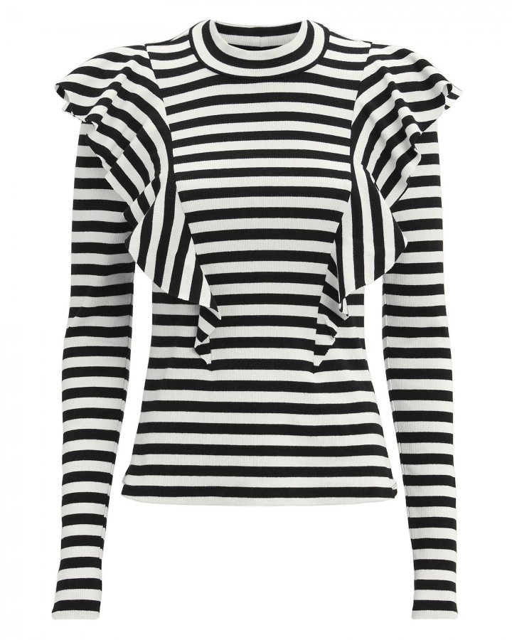 Dawson Striped Ruffle Knit Top