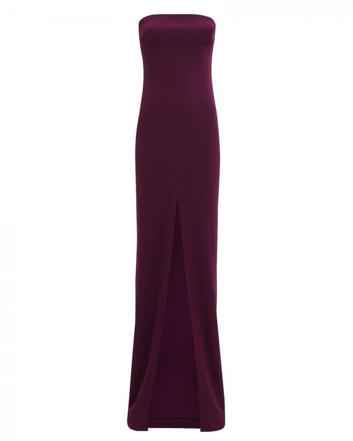 Bysha Aubergine Strapless Gown