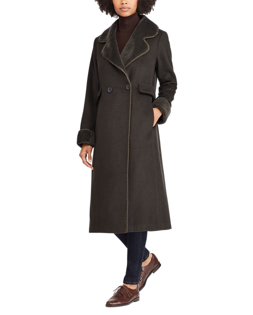 Shearling-Trim Wool-Blend Coat
