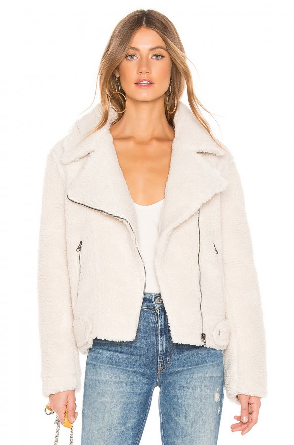 Brooklyn Faux Fur Jacket In Ivory