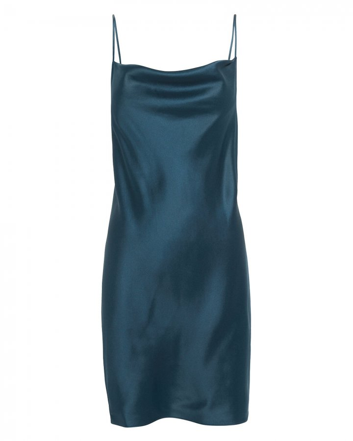 Navy Cowl Neck Slip Dress