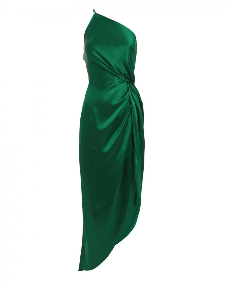 Twist Knot One Shoulder Emerald Dress
