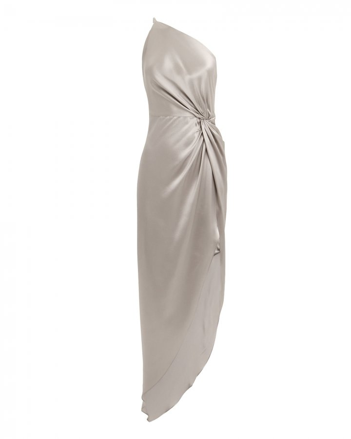 Twist Knot One Shoulder Silver Dress