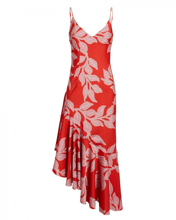 Leaf Print Midi Slip Dress