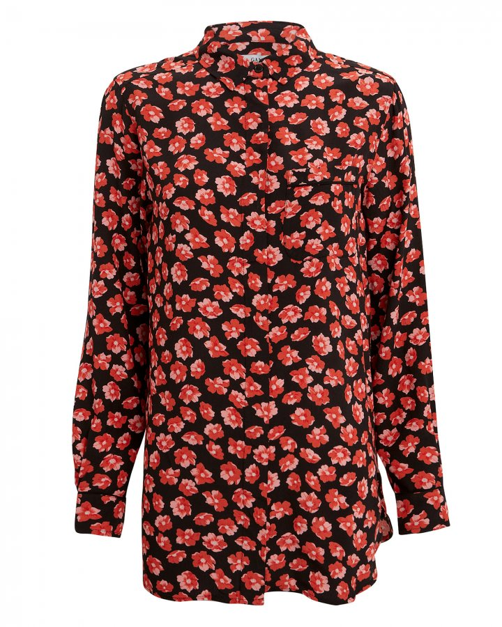 Printed Fiery Red Crepe Button Down Blouse