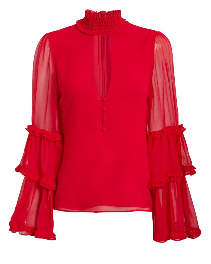 Hiro Choker Neck Red Blouse