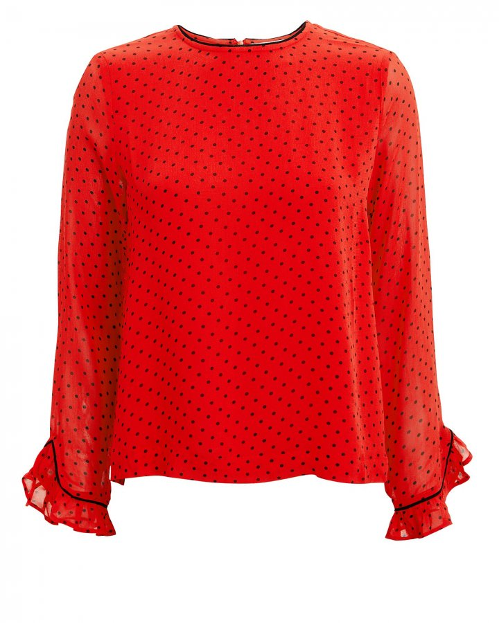 Dot Printed Fiery Red Georgette Top