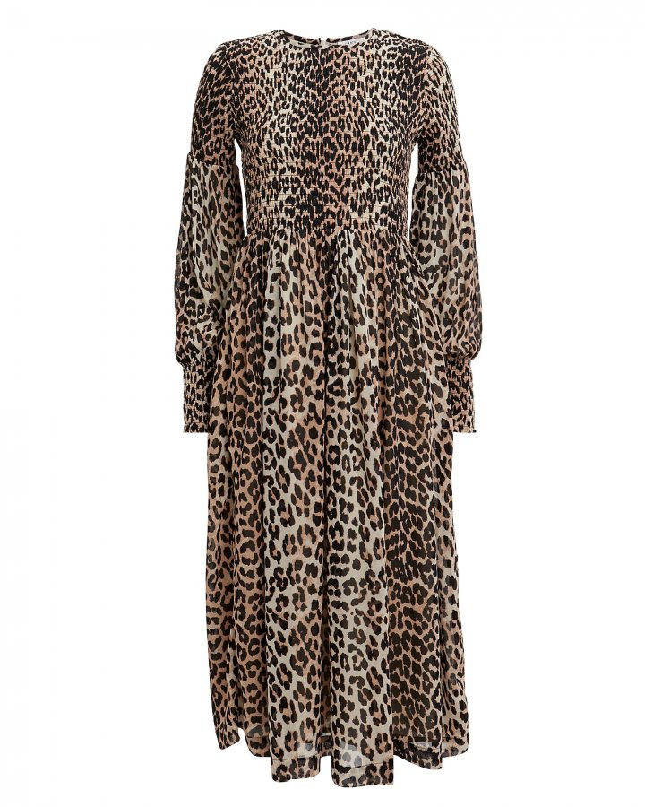 Printed Georgette Smocked Leopard Dress