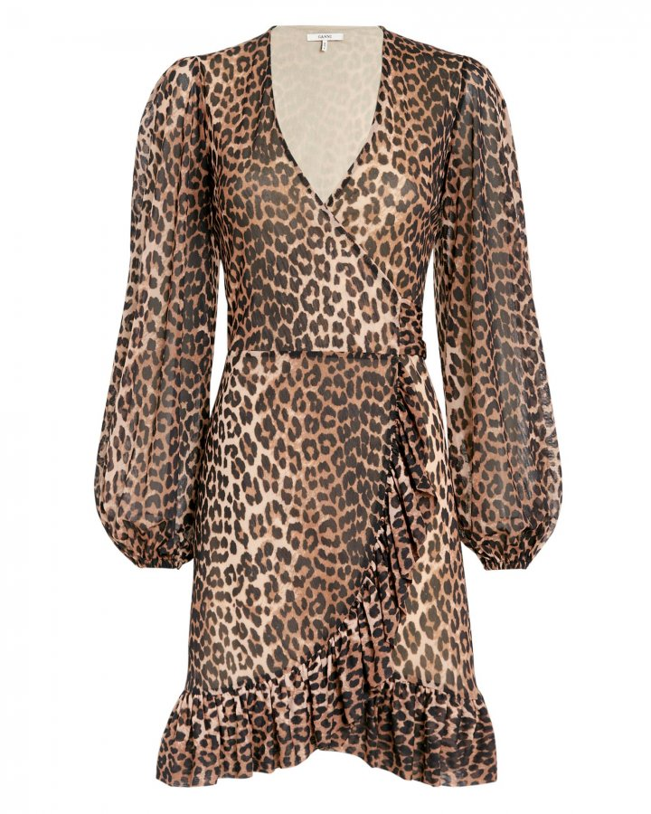 Printed Mesh Leopard Wrap Dress