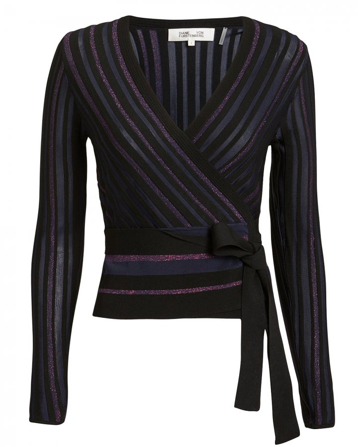 Lauren Metallic Stripe Wrap Knit Top