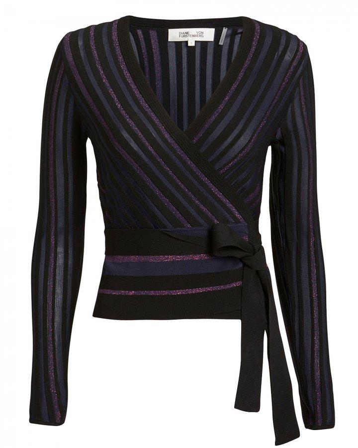 Lauren Metallic Stripe Wrap Knit Top