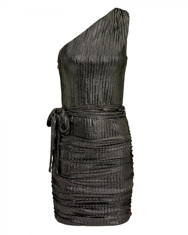 One Shoulder Gold Stripe Metallic Dress