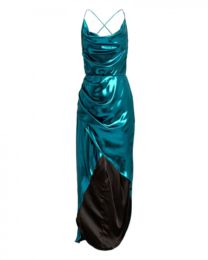 Cowl Neck Metallic Blue Dress
