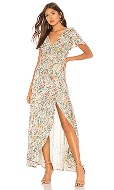 Spring Rose Wrap Maxi Dress                                             AUGUSTE