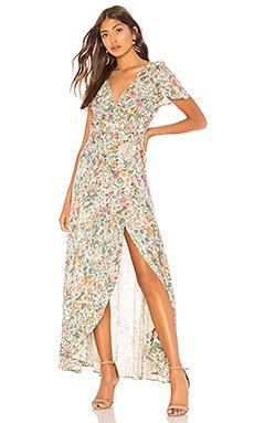 Spring Rose Wrap Maxi Dress                                             AUGUSTE