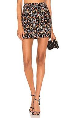 Embroidered Velvet Mini Skirt                                             Endless Rose