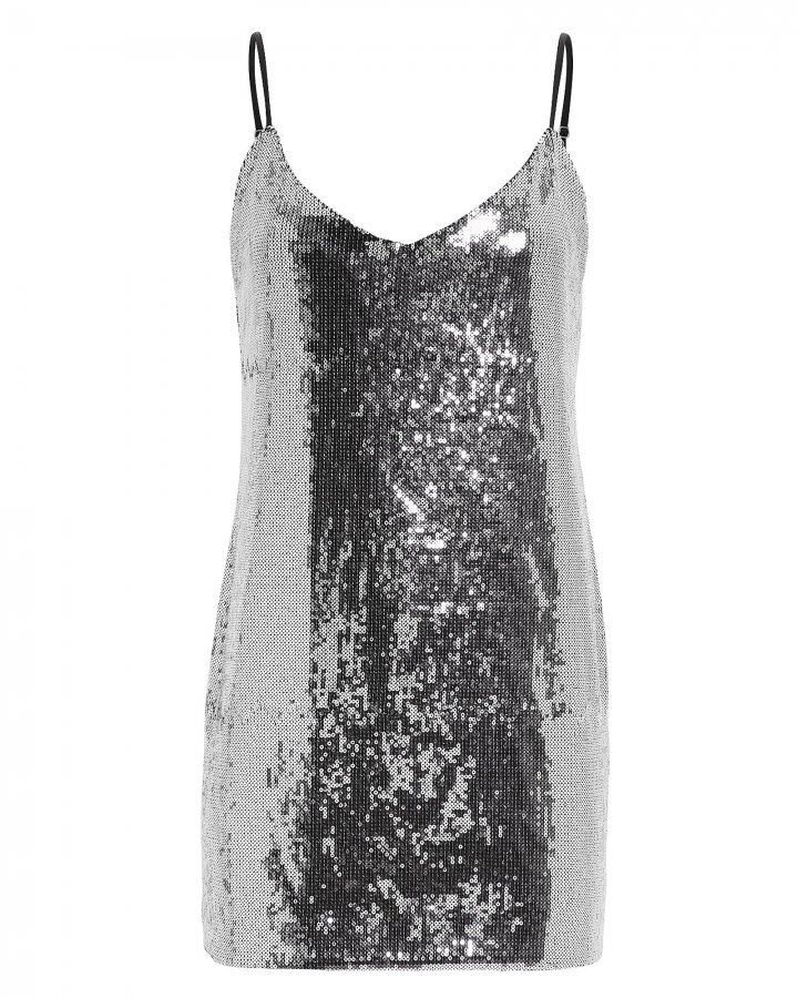 Bijou Sequin Silver Slip Dress