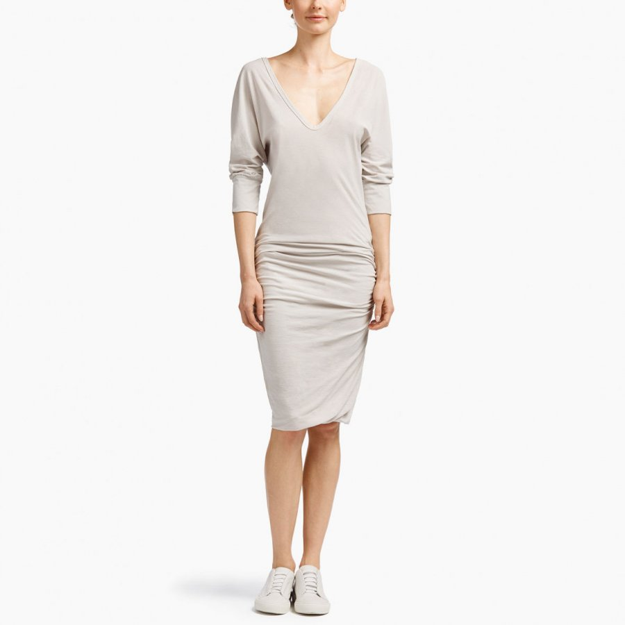 HIGH TWIST JERSEY DEEP V DRESS