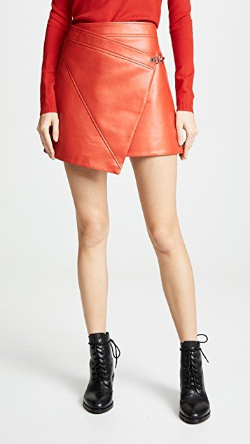 Asymmetrical Vegan Leather Skirt