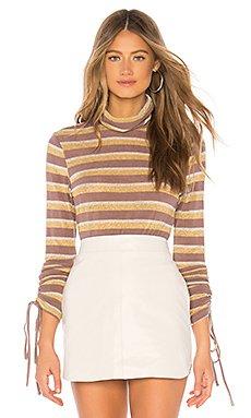 Ruched Sleeve Metallic Stripe Top                                             J.O.A.