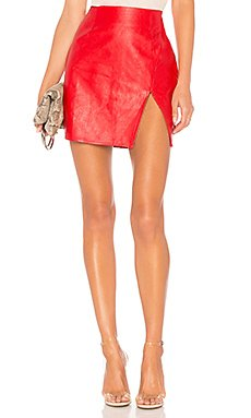 Trinity Faux Leather Skirt                                             superdown