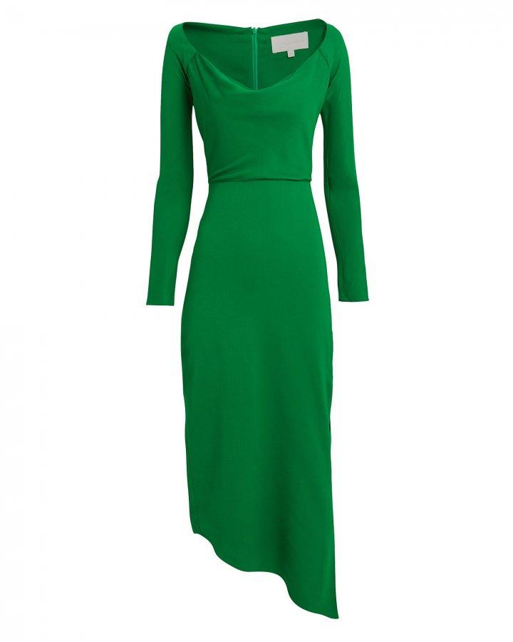 Off Shoulder Crepe Suiting Dress